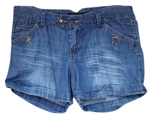 Members Only Juniors Denim Washed Cuffed Shorts blue