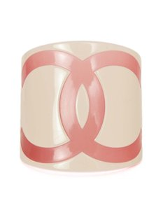 Chanel Chanel Pink and White Resin CC Cuff Bracelet