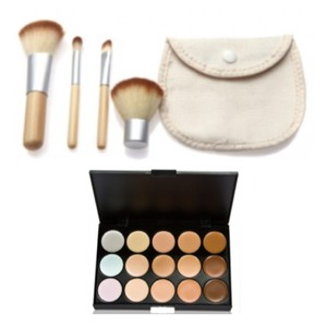 Other 5pc. Bamboo Makeup Brushes + Pouch + 15-Color Creme Concealer Palette