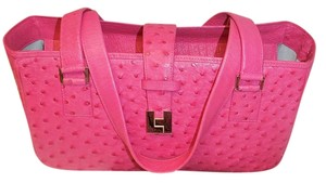 Lambertson Truex Leather Ostrich Tote in Pink