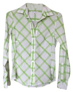 Banana Republic Button Down Shirt Green and whitr