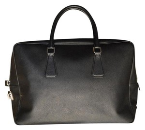 Prada Saffiano Tote Leather Satchel in Black