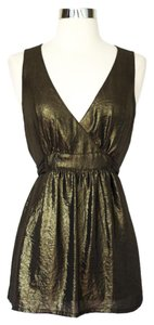 French Connection Metallic V-neck Tie Babydoll Top Gold