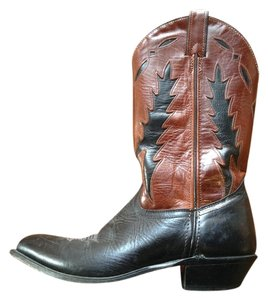 Code West Cowboy Leather Black and Brown Boots