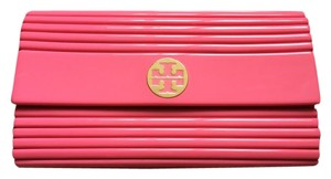 Tory Burch Resin Coral Ribbed Pink Clutch