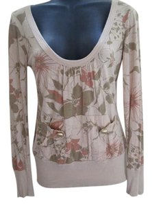 Daytrip Floral Casual Fall Autumn Winter Top Beige & Green