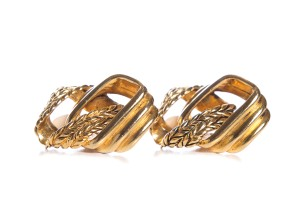 Claire Deve Claire Deve Gold Vintage Braided Chain Link Clip On Earrings