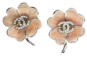 Chanel Authentic Silver CC Rhinestone Pink Enamel Clover Clip on Earrings