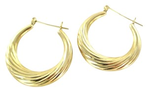 14KT YELLOW GOLD EARRINGS HOOP SMALL DENTS FINE JEWELRY JEWEL RIBBED 2.4 GRAMS