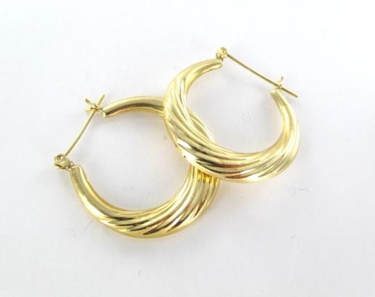 Other 14KT YELLOW GOLD EARRINGS HOOP SMALL DENTS FINE JEWELRY JEWEL RIBBED 2.4 GRAMS Image 2
