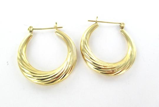 Other 14KT YELLOW GOLD EARRINGS HOOP SMALL DENTS FINE JEWELRY JEWEL RIBBED 2.4 GRAMS Image 3
