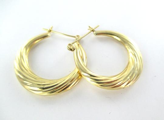 Other 14KT YELLOW GOLD EARRINGS HOOP SMALL DENTS FINE JEWELRY JEWEL RIBBED 2.4 GRAMS Image 4