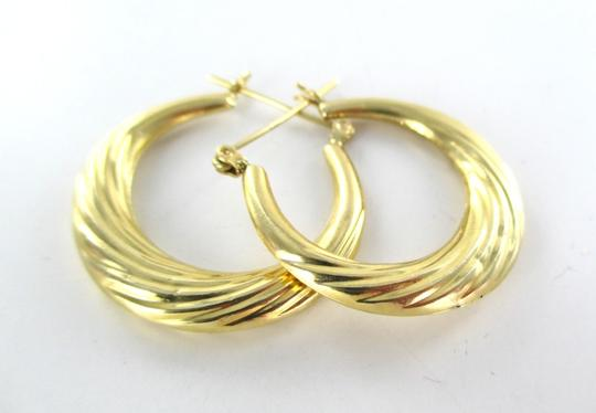 Other 14KT YELLOW GOLD EARRINGS HOOP SMALL DENTS FINE JEWELRY JEWEL RIBBED 2.4 GRAMS Image 5