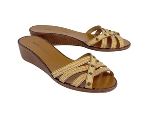 Marc Jacobs Brown Leather Wooden Low Heels Sandals