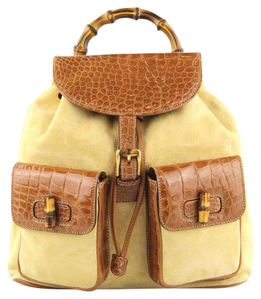 Gucci Bamboo Beige and Tan Suede Leather Backpack - Tradesy e7a26253a8dfb