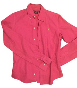 Ralph Lauren Button Up Preppy Button Down Shirt pink