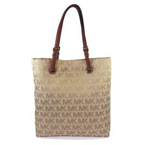 Michael Kors Extra Large Signature Tote in Beige & Brown (Camel / Luggage)