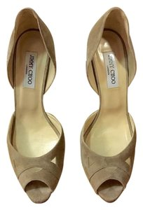 Jimmy Choo Suede Neutral D'orsay Mesh Nude Pumps
