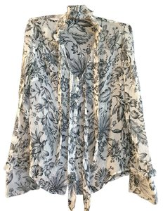 Badgley Mischka French Cuffs Silk Top Floral