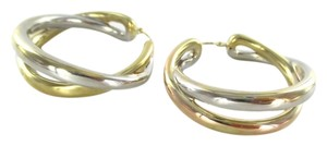 Other 14KT YELLOW WHITE GOLD EARRINGS DOUBLE HOOP 6.5 GRAMS FINE JEWELRY STUNNING