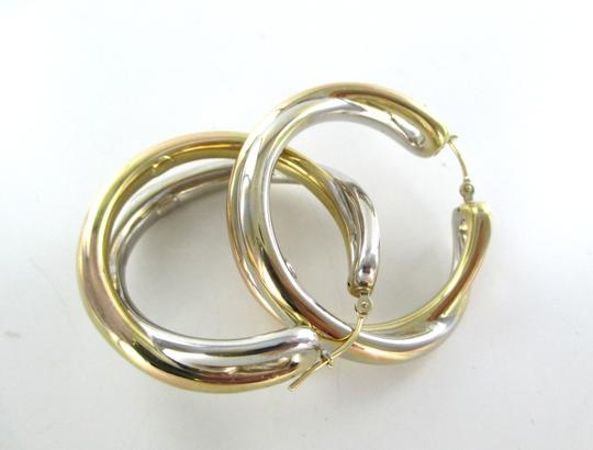 Other 14KT YELLOW WHITE GOLD EARRINGS DOUBLE HOOP 6.5 GRAMS FINE JEWELRY STUNNING Image 1