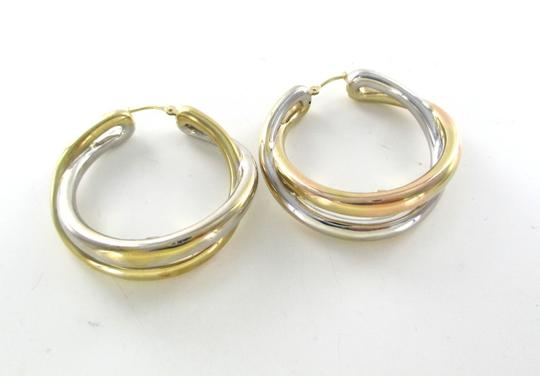 Other 14KT YELLOW WHITE GOLD EARRINGS DOUBLE HOOP 6.5 GRAMS FINE JEWELRY STUNNING Image 2