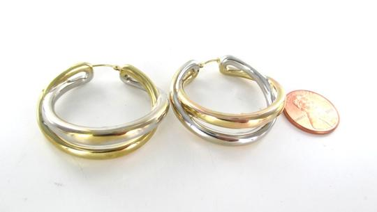 Other 14KT YELLOW WHITE GOLD EARRINGS DOUBLE HOOP 6.5 GRAMS FINE JEWELRY STUNNING Image 3