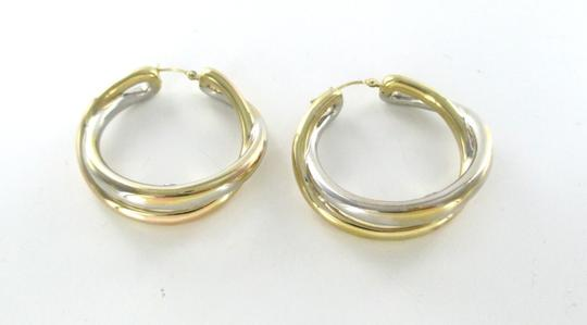 Other 14KT YELLOW WHITE GOLD EARRINGS DOUBLE HOOP 6.5 GRAMS FINE JEWELRY STUNNING Image 4