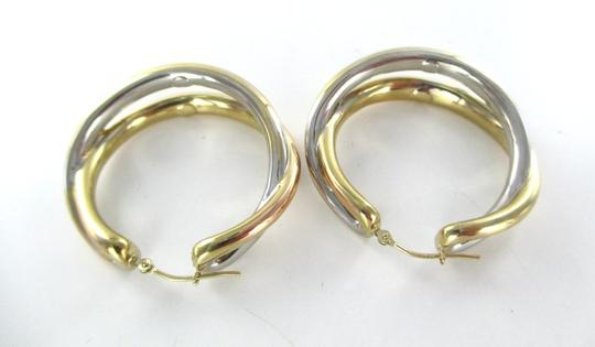 Other 14KT YELLOW WHITE GOLD EARRINGS DOUBLE HOOP 6.5 GRAMS FINE JEWELRY STUNNING Image 5