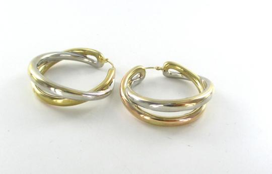 Other 14KT YELLOW WHITE GOLD EARRINGS DOUBLE HOOP 6.5 GRAMS FINE JEWELRY STUNNING Image 6