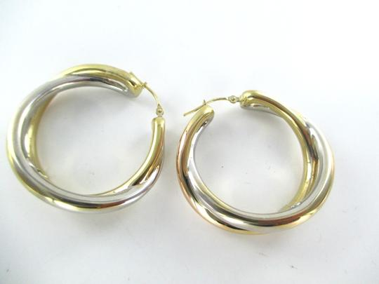 Other 14KT YELLOW WHITE GOLD EARRINGS DOUBLE HOOP 6.5 GRAMS FINE JEWELRY STUNNING Image 7