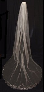 Regal White Beaded Edge Cathedral Length Wedding Veil