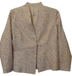 Neiman Marcus Linen Lined Cheetah Large Off-white & grey Blazer