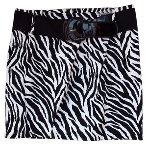 HeartSoul Zebra Belt Pencil Animal Pattern Skirt black, white