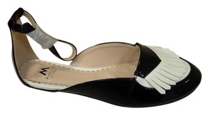 ShoeDazzle Loafer Black Black White Flats