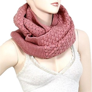 Dusty Rose Infinity Round Knitted Scarf Sweater Neck Collar