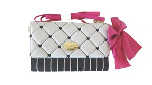 Betsey Johnson Luv Betsey wallet on a string black/bone envelope cross body