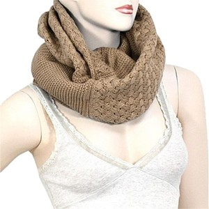 Khaki Infinity Round Knitted Scarf Sweater Neck Collar
