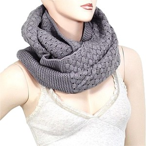 Gray Infinity Round Knitted Scarf Sweater Neck Collar