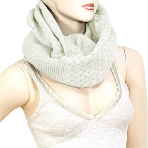 Winter White Infinity Round Knitted Scarf Sweater Neck Collar