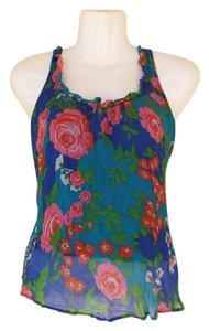 Anthropologie Floral Racerback Flowy Lined Keyhole Top blue, green, pink, red