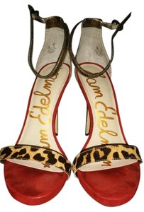 Sam Edelman gold,red and leopard Pumps