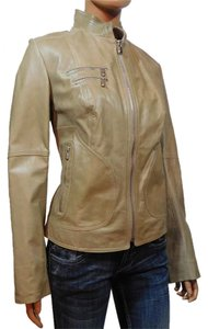 Laundry by Shelli Segal Beige-Taupe Leather Jacket