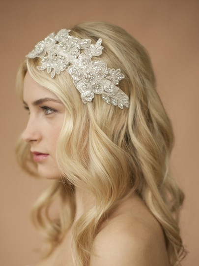 Mariell White/Silver Sculptured Lace Headband with Crystals Hair Accessory Image 1