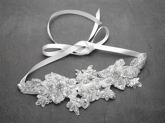 Mariell White/Silver Sculptured Lace Headband with Crystals Hair Accessory Image 2