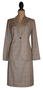Brooks Brothers Brown and cream glen plaid skirt suit with lavender window pane.