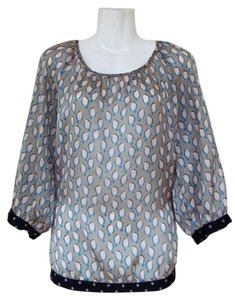 The Limited Sheer Bird Polka Dots Elastic Top black, grey, pink, blue