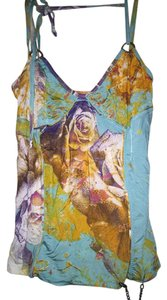 Roberto Cavalli Sleeveless Halter Rose Graphic Cavalli Top Graphic/Floral