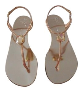 Giuseppe Zanotti Luxurious Large Crystal Accent Lovely Soft Metallic Made In Italy Ramino Sandals