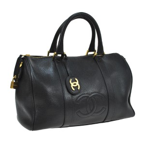 Chanel Duffle Vintage Travel Luggage Black Travel Bag